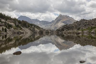 Wyoming, Wind River Range, Small Lake with Mountain Reflection