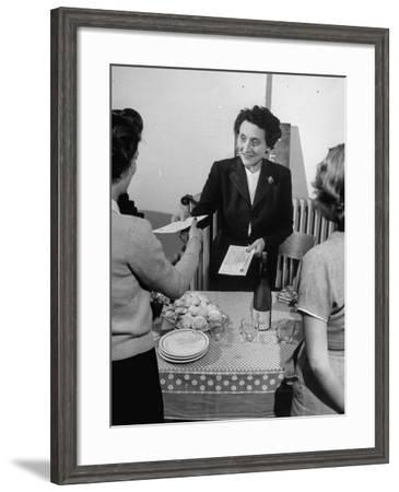 Elizabeth Brassart, Giving a Studenther Diploma--Framed Photographic Print