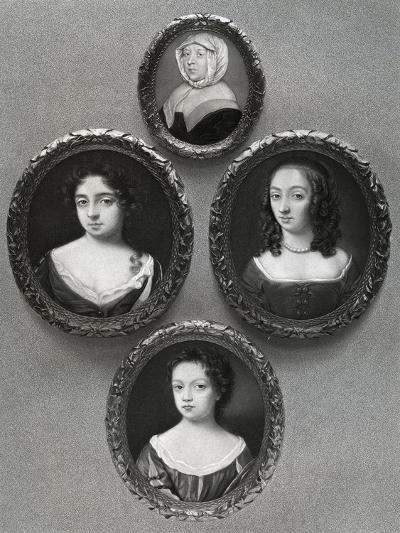Elizabeth Cromwell, Mother of Oliver Cromwell, and His Daughters, Mary, Elizabeth and Bridget, 1899-John Hoskins I-Giclee Print