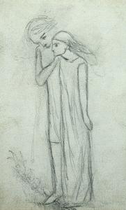 Idea for 'La Belle Dame Sans Merci' (Pencil on Paper) (See also 200314) by Elizabeth Eleanor Siddal