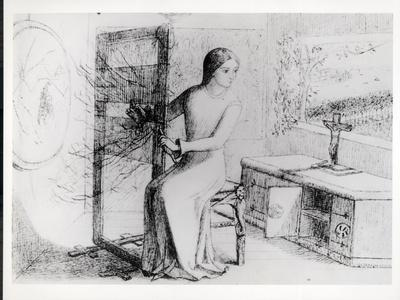 The Lady of Shalott, 1853 (Ink on Paper) (B/W Photo)
