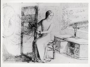 The Lady of Shalott, 1853 (Ink on Paper) (B/W Photo) by Elizabeth Eleanor Siddal