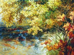 Creek and Fall Trees by Elizabeth Horning