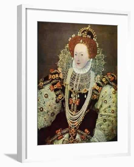 Elizabeth I, Queen of England and Ireland, C1588, (C1902-190)-George Gower-Framed Giclee Print