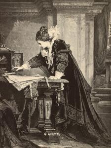 Elizabeth I Signs the Death Sentence of Maria Stuart