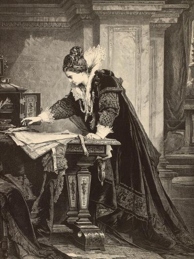 Elizabeth I Signs the Death Sentence of Maria Stuart--Giclee Print