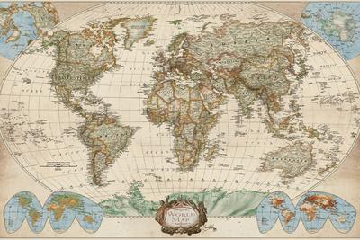 World Map Detailed Large Poster Art Print