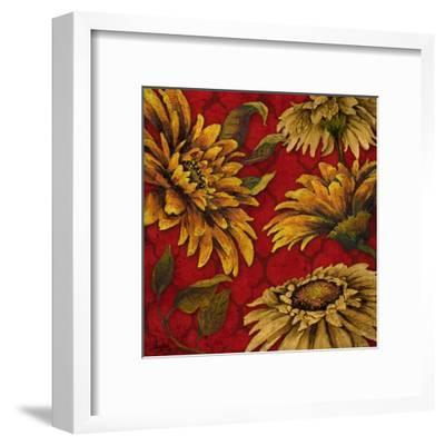 Yellow Floral on Red I