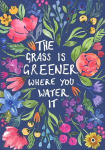 Greener Grass (Blue Background) by Elizabeth Rider