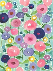 Poppies in Bloom on Aqua Background by Elizabeth Rider