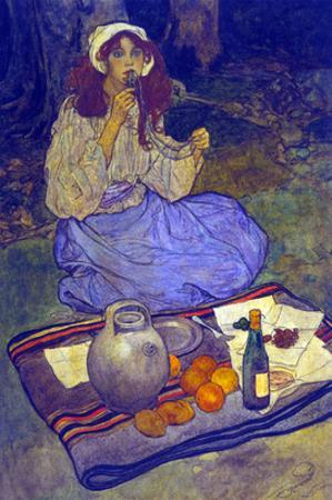 Miguela, Kneeling Still, Put it to Her Lip by Elizabeth Shippen Green
