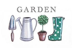 Garden Sign with Tools by Elizabeth Tyndall