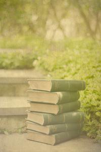 Antique Books in a Garden by Elizabeth Urqhurt