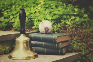 Bell, Books, and Map by Elizabeth Urqhurt