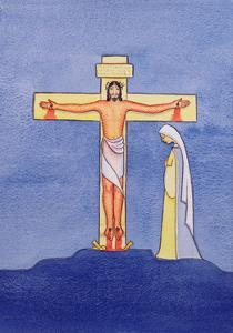 Mary Stands by the Cross as Jesus Offers His Life in Sacrifice, 2005 by Elizabeth Wang