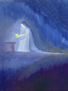 The Virgin Mary Cared for Her Child Jesus with Simplicity and Joy, 1997 by Elizabeth Wang
