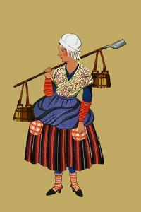Fisherwoman from the Coast of Artois Carries Shovel for Digging Clams by Elizabeth Whitney Moffat