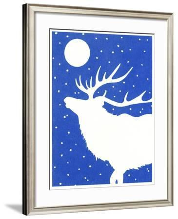 Elk in Snow with Moon Overhead-Crockett Collection-Framed Giclee Print