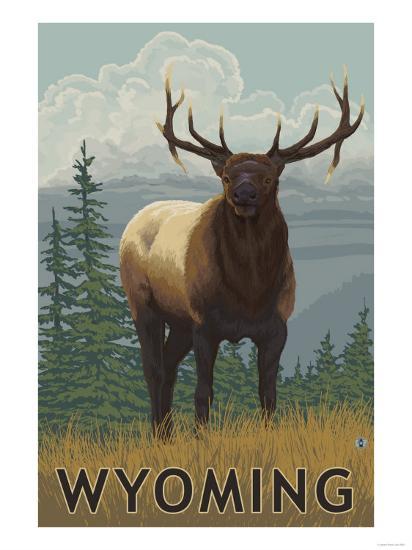 Elk Scene - Wyoming-Lantern Press-Art Print
