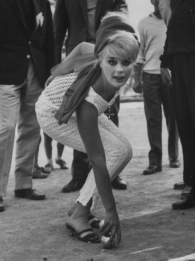 Elke Sommer Playing Petanque at the Cannes Film Festival-Paul Schutzer-Premium Photographic Print
