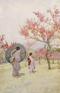Two Japanese Women Admiring Peach Trees in Blossom by Ella Du Cane