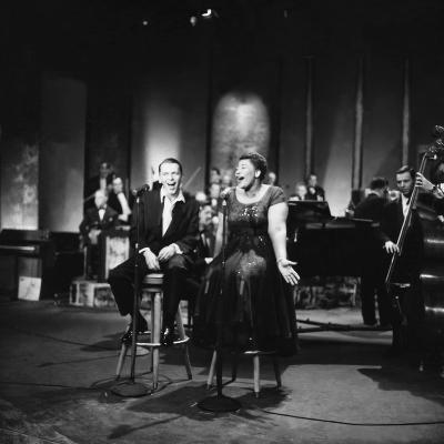Ella Fitzgerald and Frank Sinatra - 1958-Howard Morehead-Photographic Print