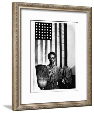Ella Watson Standing with Broom and Mop in Front of American Flag, Part of Depression Era Survey-Gordon Parks-Framed Premium Photographic Print