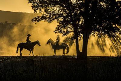 USA, California, Parkfield, V6 Ranch silhouette of two riders on horseback. Early dusty morning.