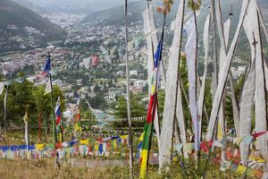 Asia, Bhutan, Prayer Flags Overlooking Thimphu by Ellen Goff