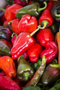 Asia, Bhutan, Thimphu, Chili Peppers for Sale in Market by Ellen Goff