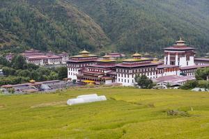 Asia, Bhutan, Thimphu, Royal Palace. Views of the Royal Palace in Thimphu by Ellen Goff