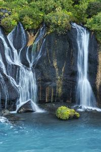 Iceland, Hraunfossar. Tiny cascades emerge from the lava to flow into the Hvita River by Ellen Goff