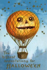 A Halloween Pumpkin Hot Air Balloon, 1909 by Ellen Hattie Clapsaddle
