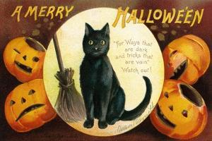 Halloween Greetings with Black Cat and Carved Pumpkins, 1909 by Ellen Hattie Clapsaddle