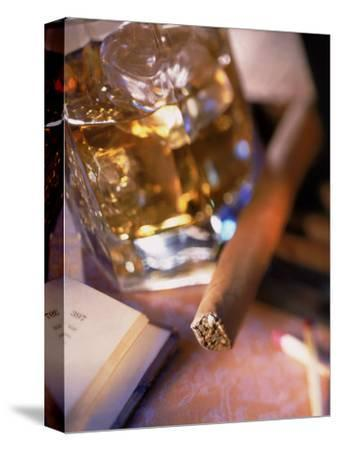 Cigar and Liquor with Ice Cubes