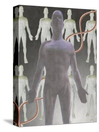 Cloning Dna, Male Figure with Dna Strand