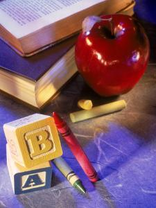 Crayons, Letter Blocks, Apple and Books by Ellen Kamp