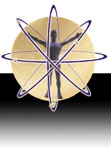 Male Figure in Atom with Electrons by Ellen Kamp