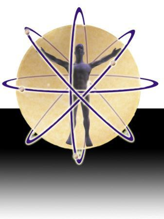 Male Figure in Atom with Electrons by Ellen Kamp