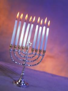 Silver Menorah with White Lighted Candles by Ellen Kamp