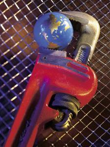 Wrench Holding Globe by Ellen Kamp