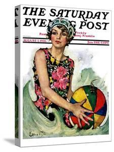 """""""Bathing Beauty and Beach Ball,"""" Saturday Evening Post Cover, August 7, 1926 by Ellen Pyle"""
