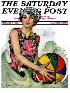 """Bathing Beauty and Beach Ball,"" Saturday Evening Post Cover, August 7, 1926 by Ellen Pyle"