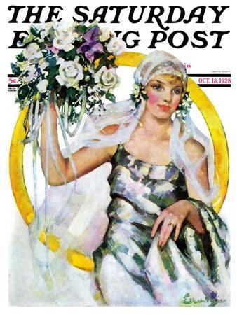 """""""Bride and Bouquet,"""" Saturday Evening Post Cover, October 13, 1928"""