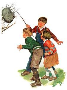 """Children and Hornets Nest,""March 16, 1935 by Ellen Pyle"