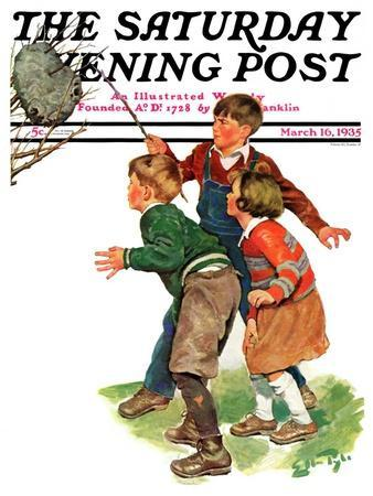 """""""Children and Hornets Nest,"""" Saturday Evening Post Cover, March 16, 1935"""