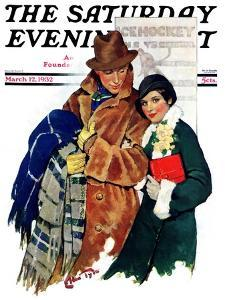 """Date at Hockey Game,"" Saturday Evening Post Cover, March 12, 1932 by Ellen Pyle"