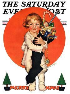 """""""Giant Christmas Stocking,"""" Saturday Evening Post Cover, December 18, 1926 by Ellen Pyle"""