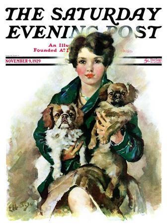 """Pugs in Lap,"" Saturday Evening Post Cover, November 9, 1929"