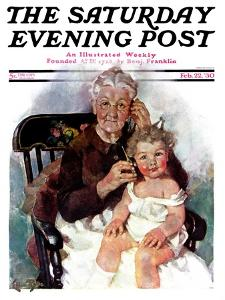 """Radio Days,"" Saturday Evening Post Cover, February 22, 1930 by Ellen Pyle"